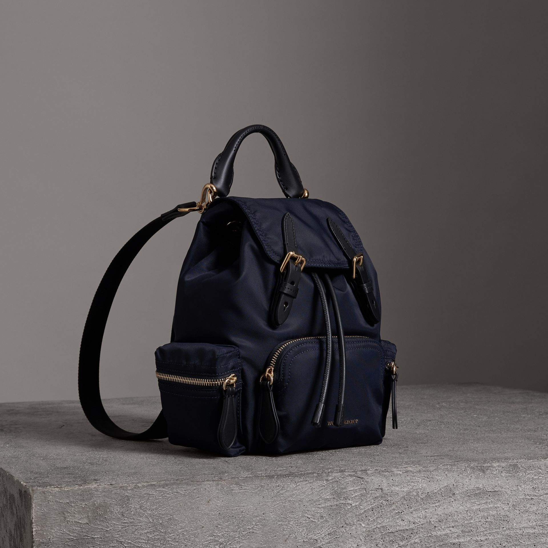 The Crossbody Rucksack in Nylon and Leather in Ink Blue - Women | Burberry - gallery image 0