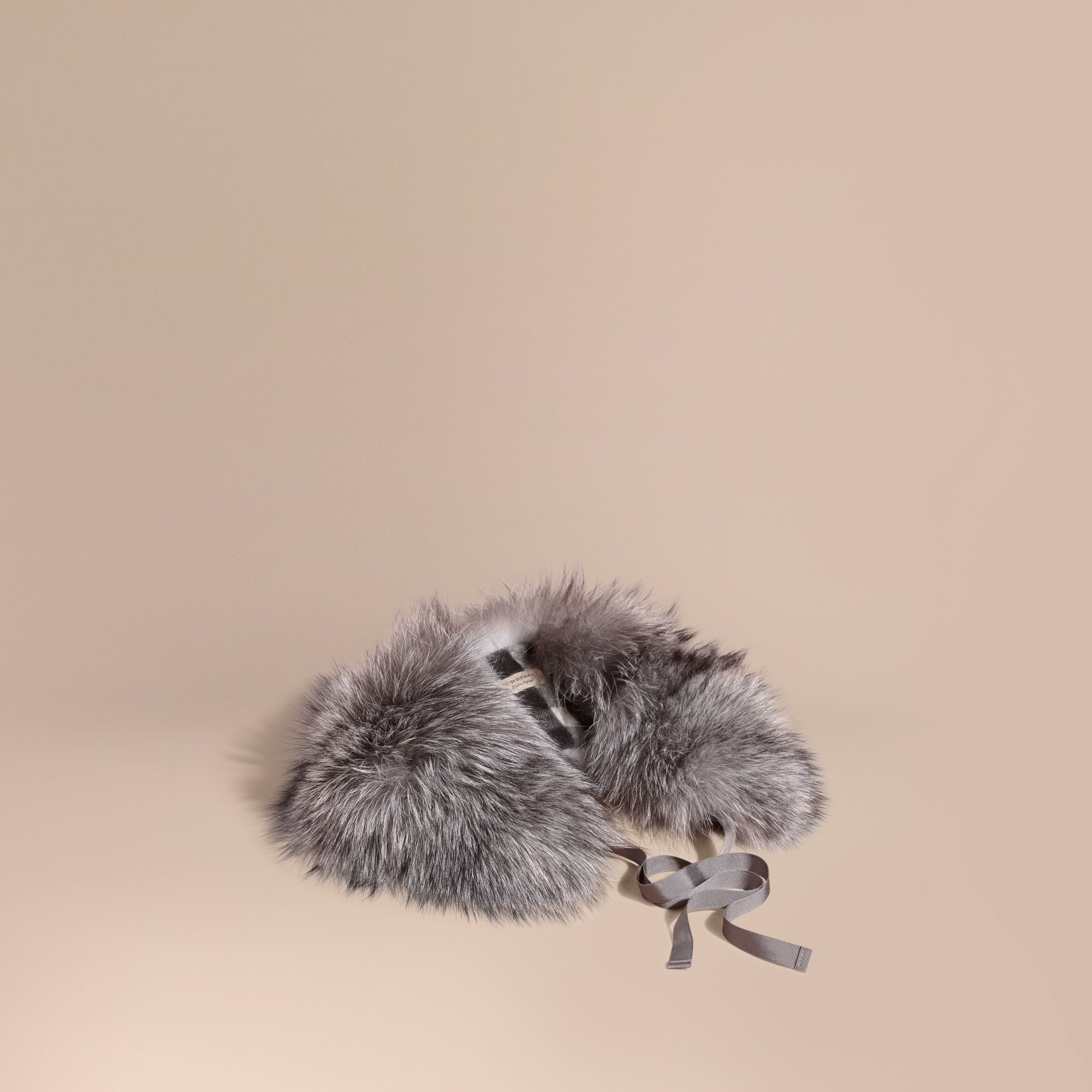 Fox Fur Collar with Check Cashmere Lining Mid Grey - gallery image 1