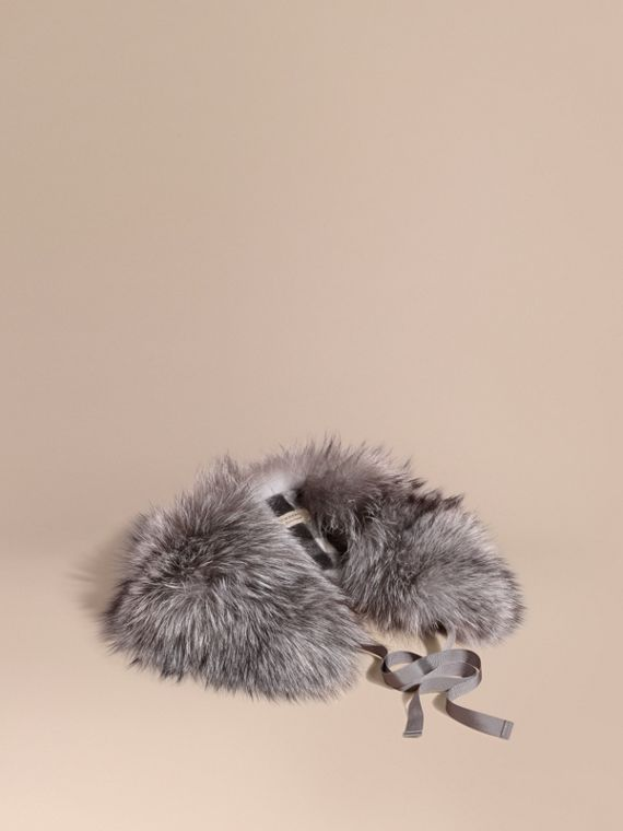 Fox Fur Collar with Check Cashmere Lining Mid Grey