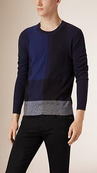 Pullover aus Baumwolle und Kaschmir mit Check-Detail