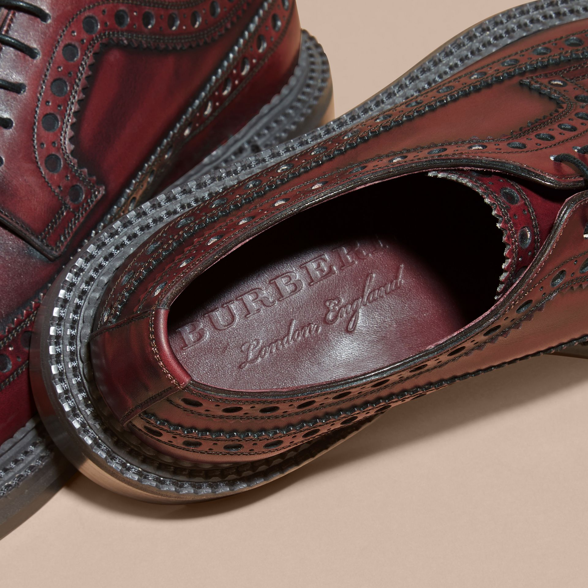 Bordeaux Leather Derby Brogues - gallery image 2