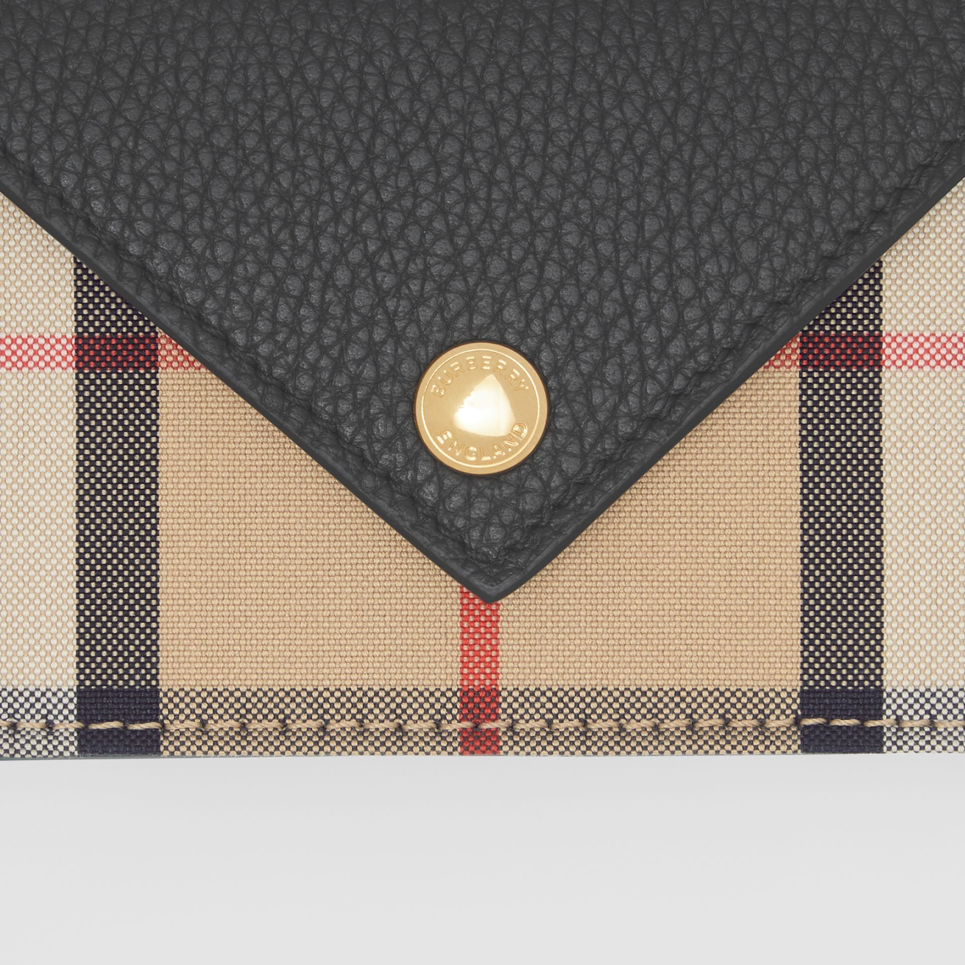 Vintage Check and Leather Card Case with Strap in Black - Women | Burberry United Kingdom - gallery image 1