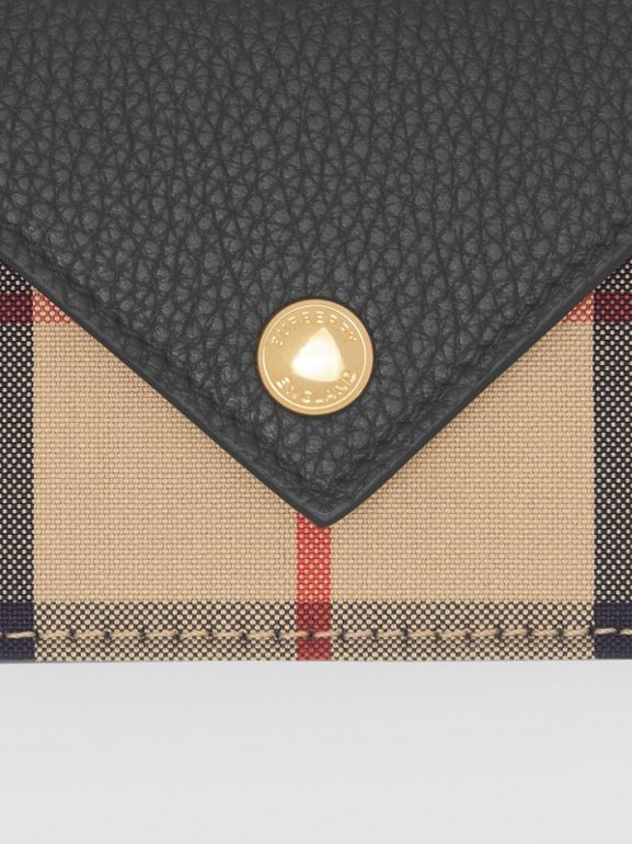 Vintage Check and Leather Card Case with Strap in Black - Women | Burberry United Kingdom - cell image 1