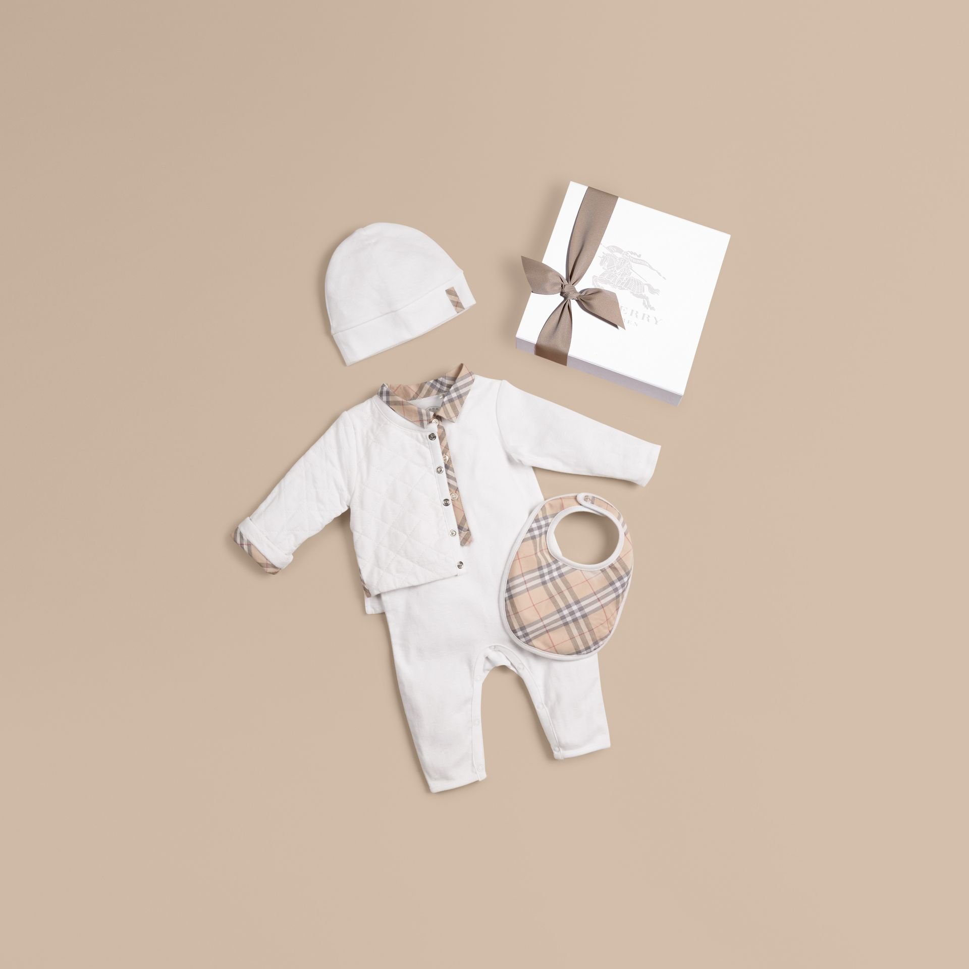 White Cotton Four-piece Baby Gift Set - gallery image 1