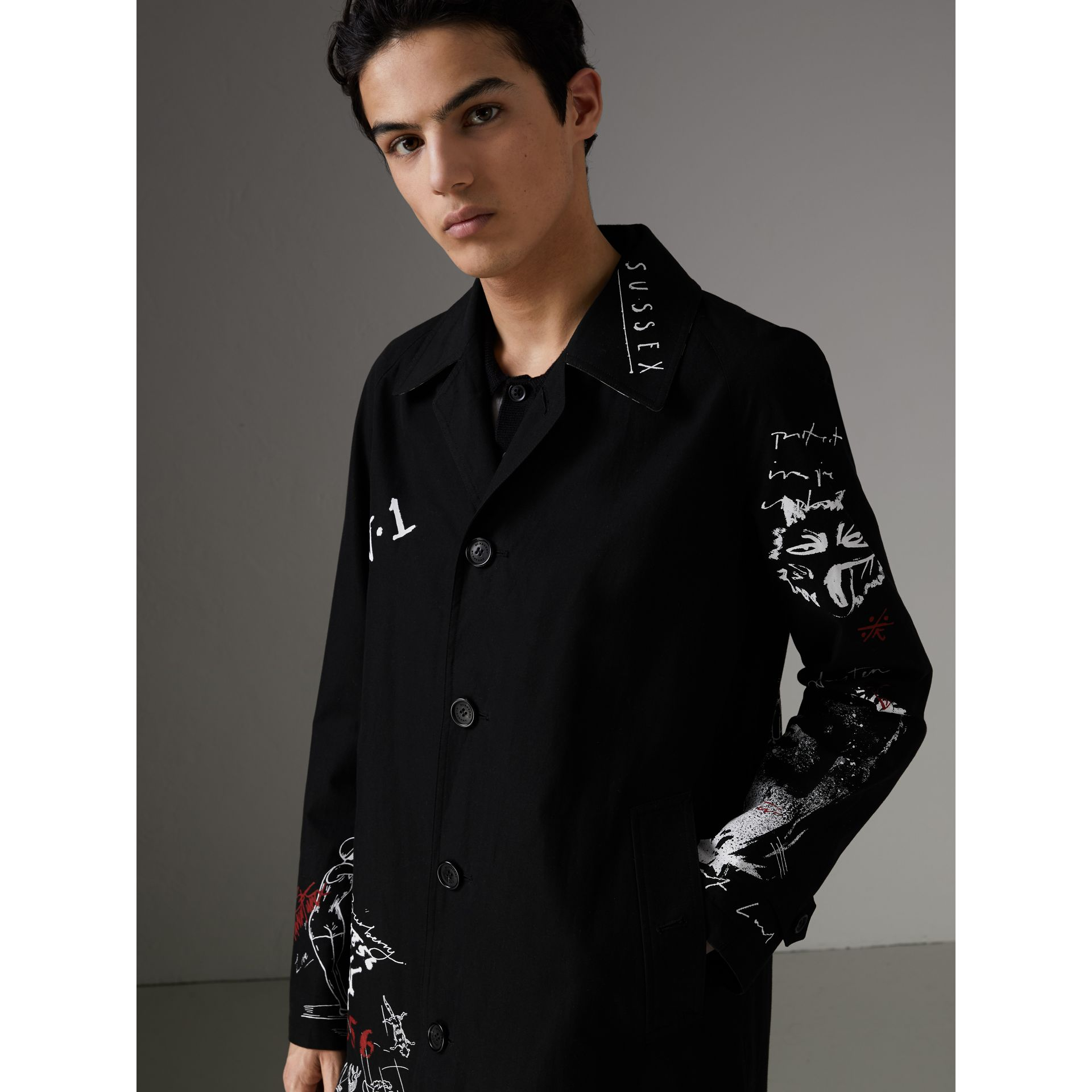 Sketch Print Car Coat in Black - Men | Burberry Australia - gallery image 1