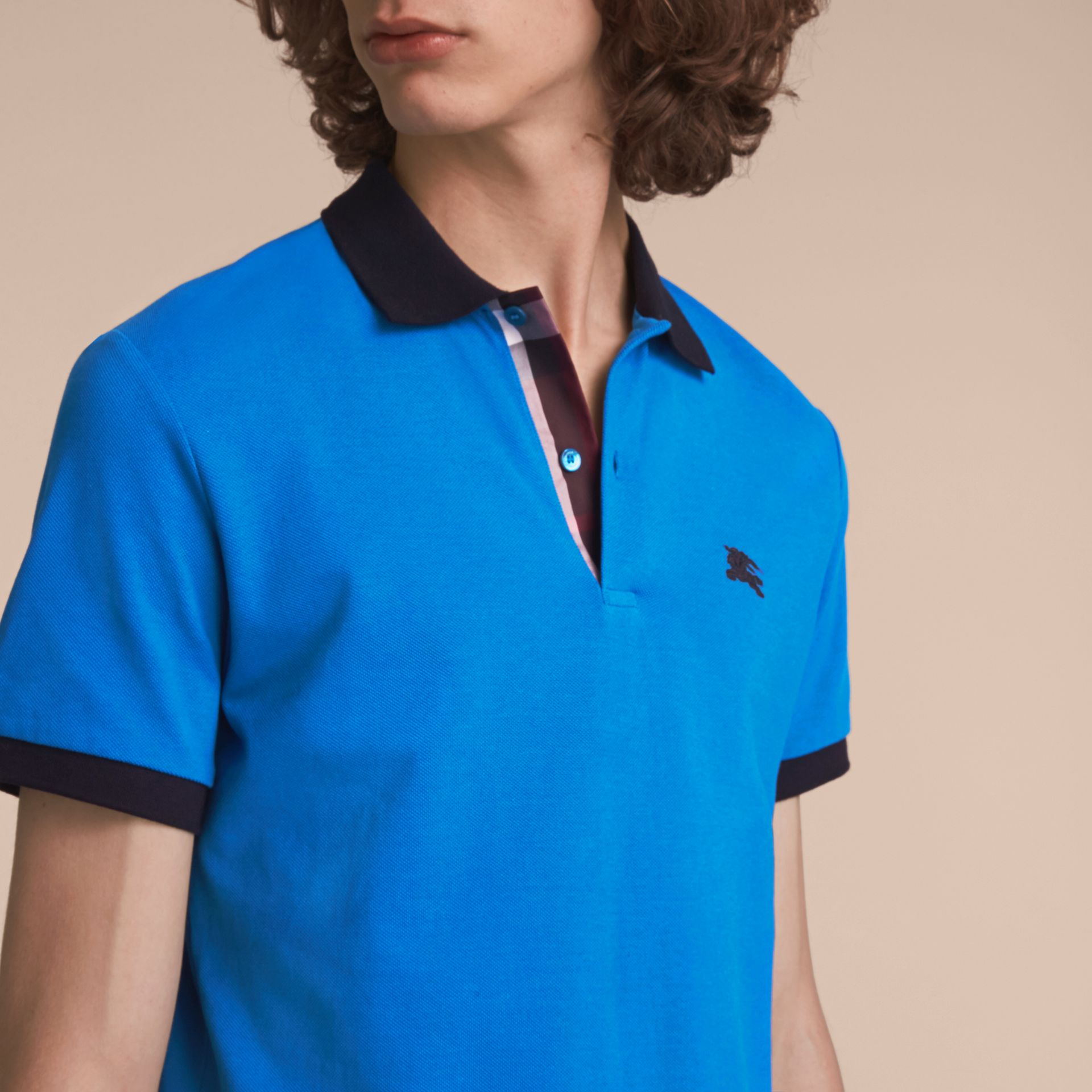 Two-tone Check Placket Cotton Piqué Polo Shirt Bright Opal - gallery image 5