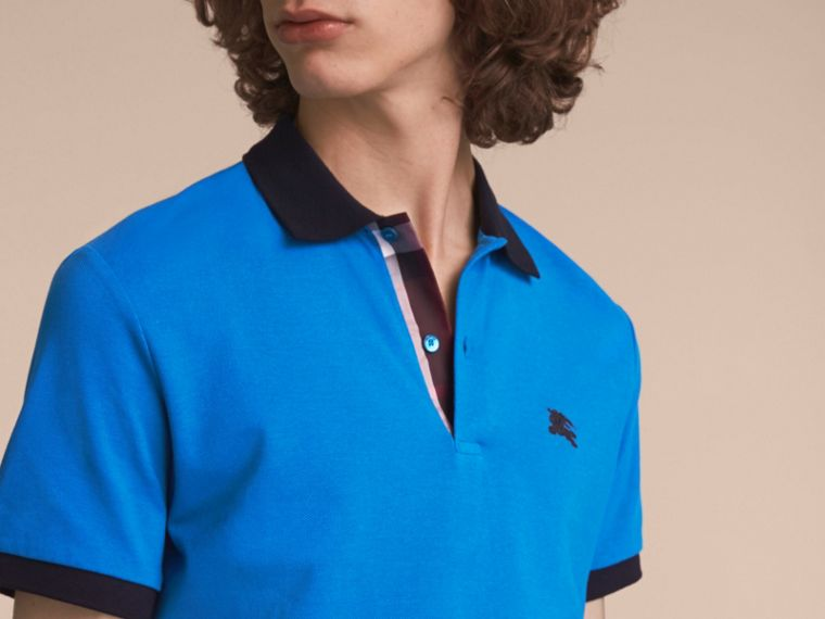 Two-tone Check Placket Cotton Piqué Polo Shirt Bright Opal - cell image 4