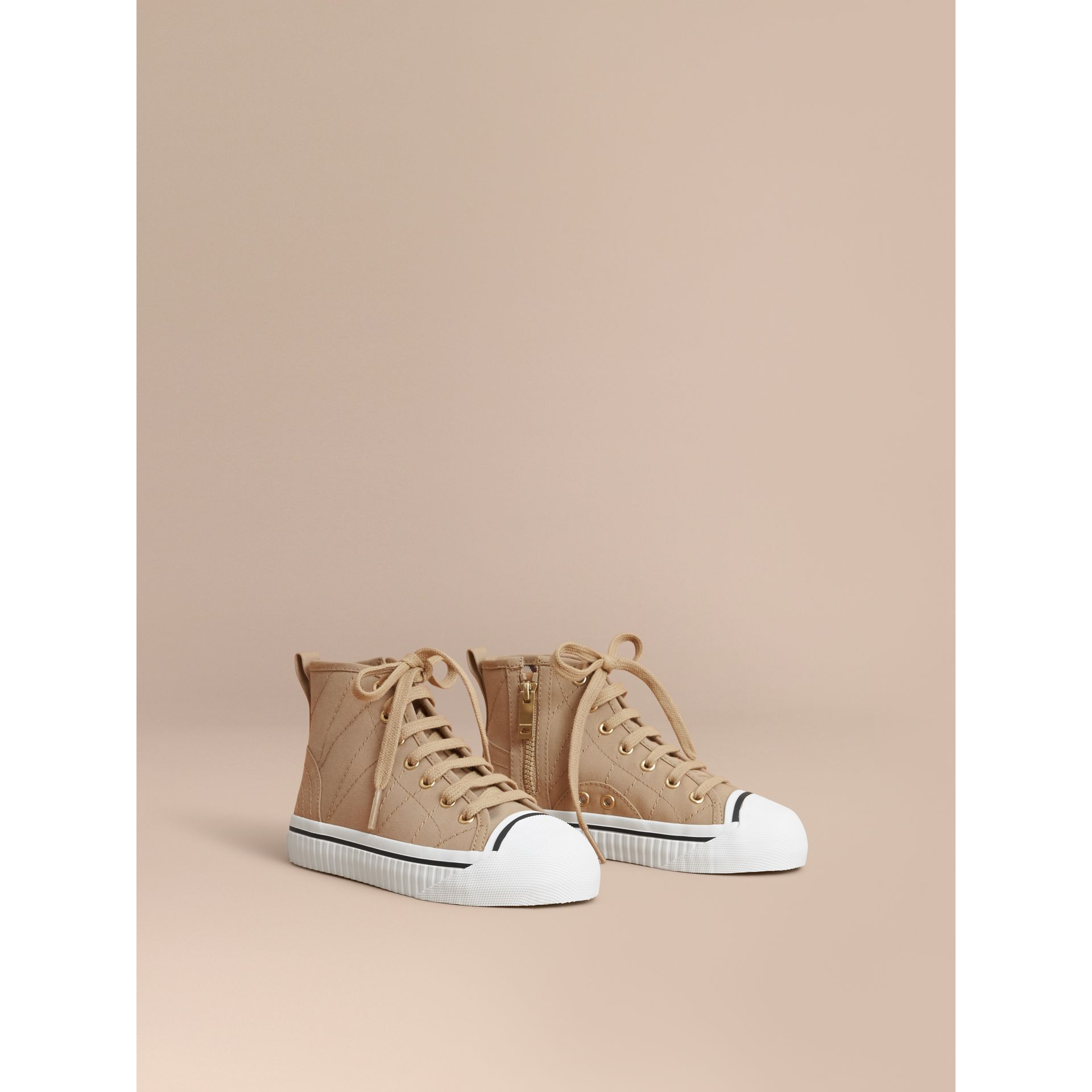 Topstitched Cotton Gabardine High-top Trainers in Honey | Burberry - gallery image 1
