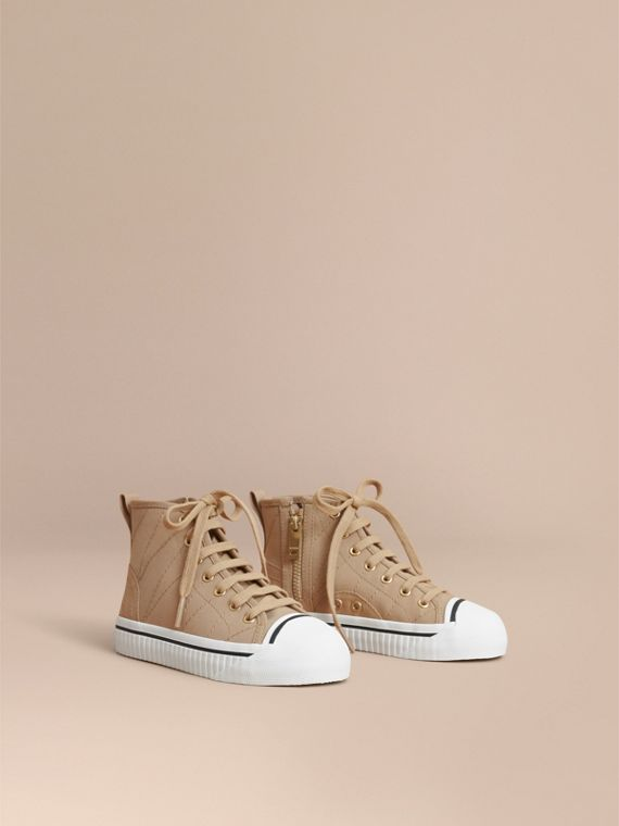 Topstitched Cotton Gabardine High-top Trainers | Burberry