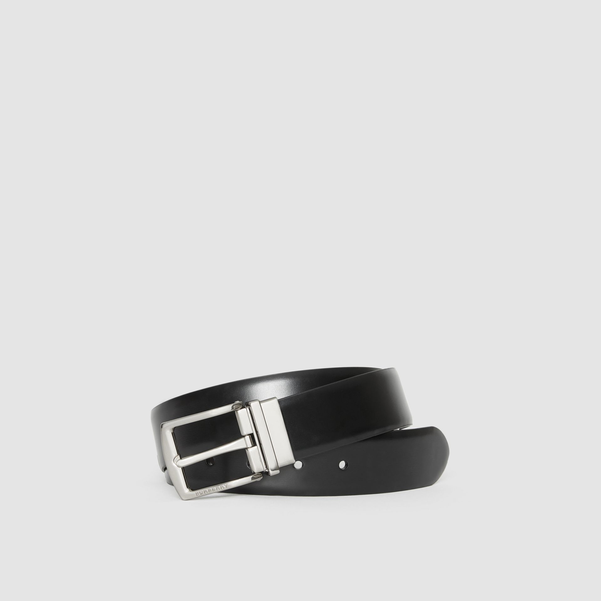 Reversible Leather Belt in Black/chocolate - Men | Burberry United Kingdom - gallery image 0