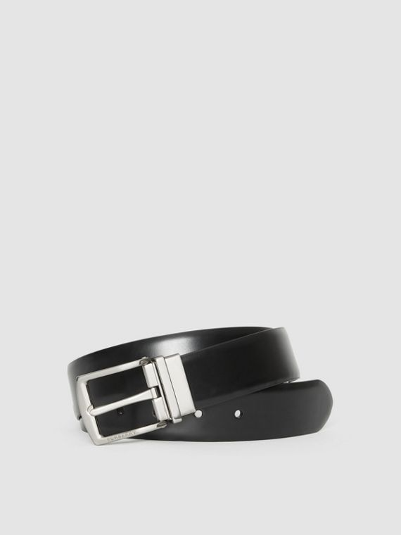 Reversible Leather Belt in Black/chocolate