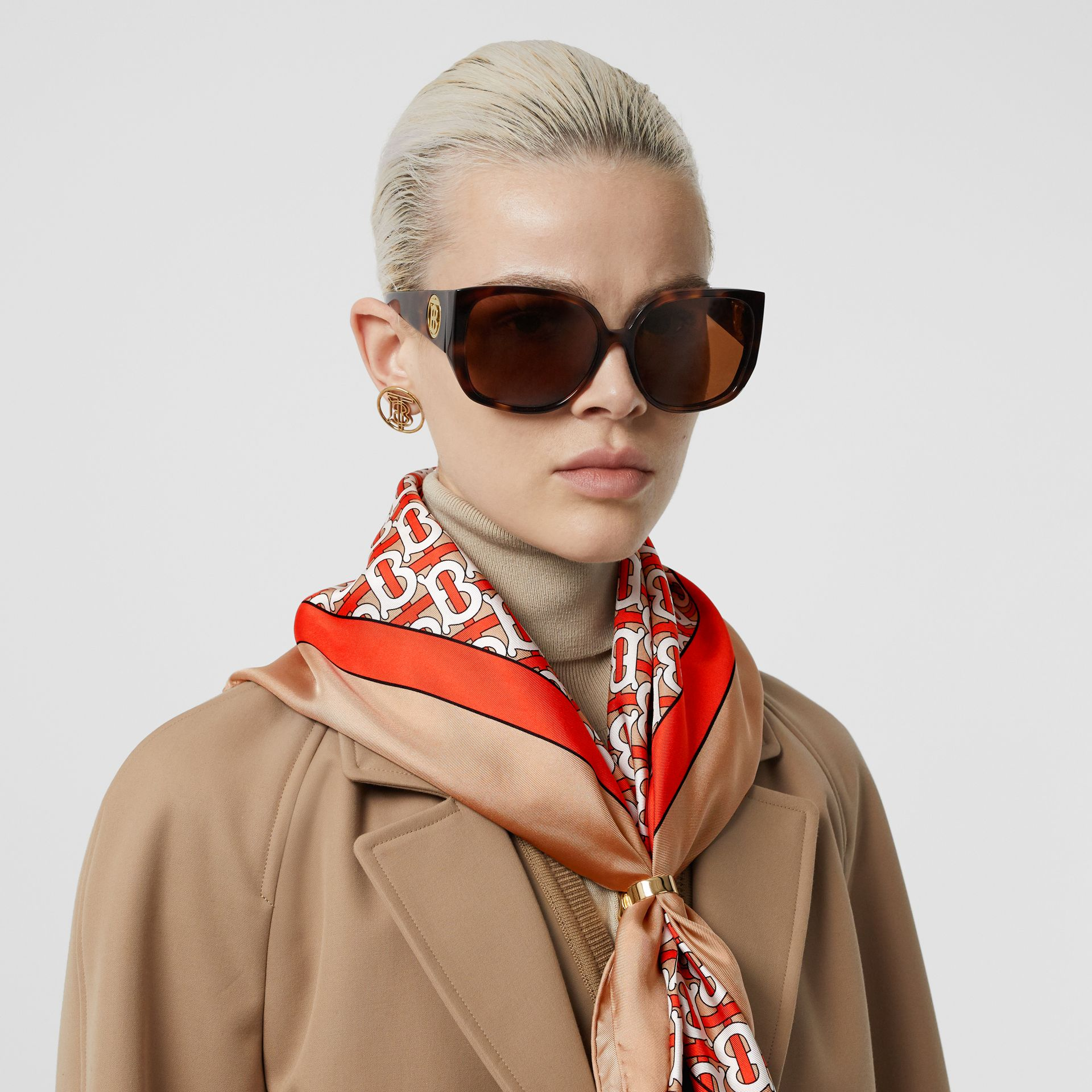 Monogram Print Silk Square Scarf in Vermilion - Women | Burberry - gallery image 2