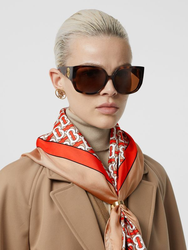 Monogram Print Silk Square Scarf in Vermilion - Women | Burberry United Kingdom - cell image 2