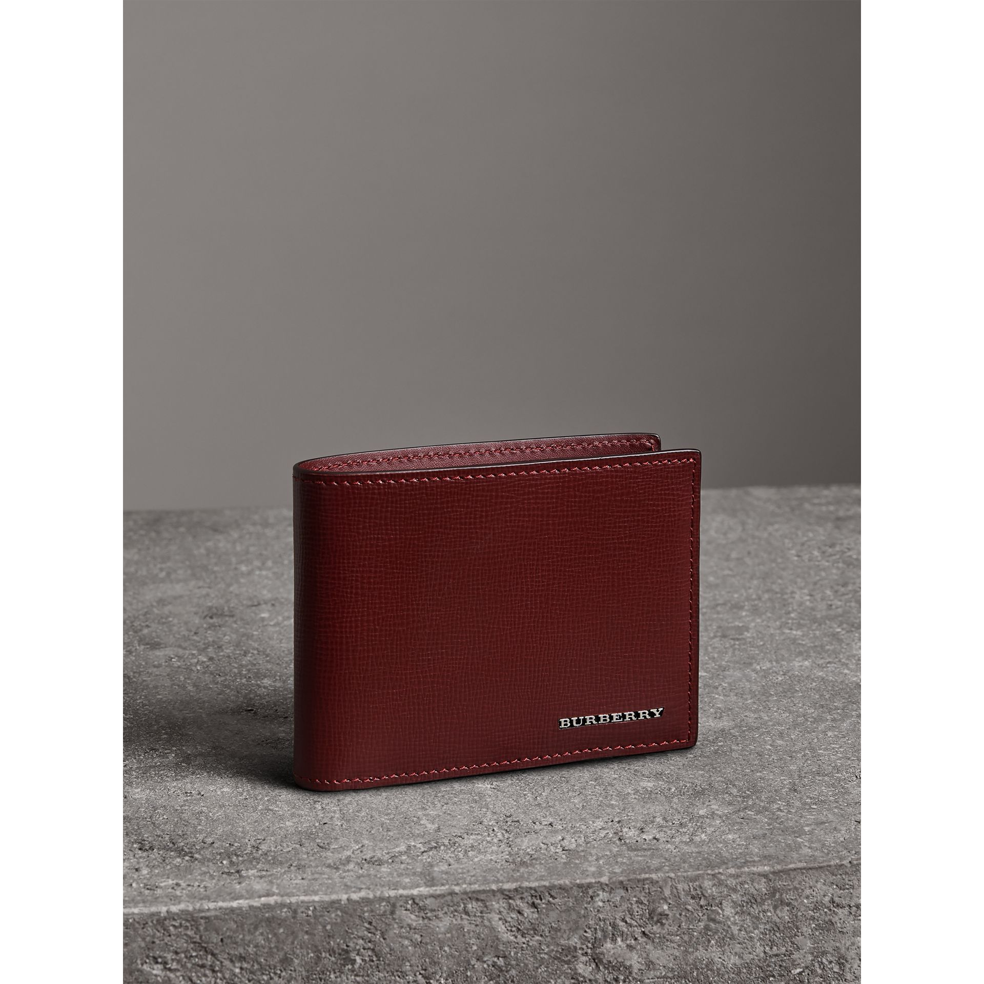 London Leather Bifold Wallet in Burgundy Red - Men | Burberry United States - gallery image 4