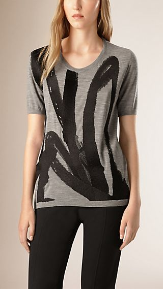 Brushstroke Embroidered Knitted Wool T-Shirt