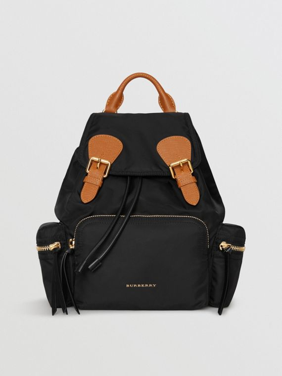 210ce8a3bea51 The Medium Rucksack in Technical Nylon and Leather in Black