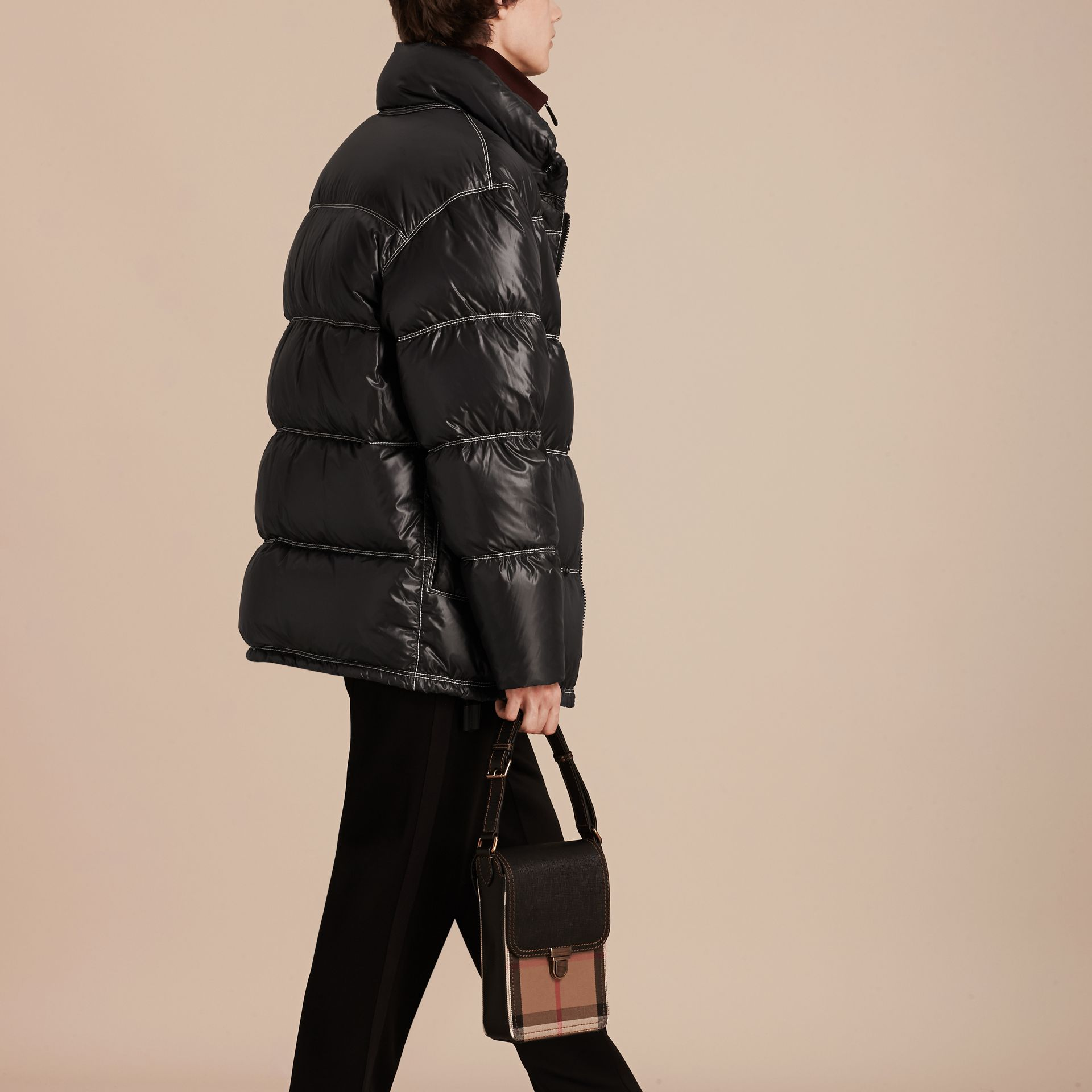 Black Down-filled Puffer Coat - gallery image 3