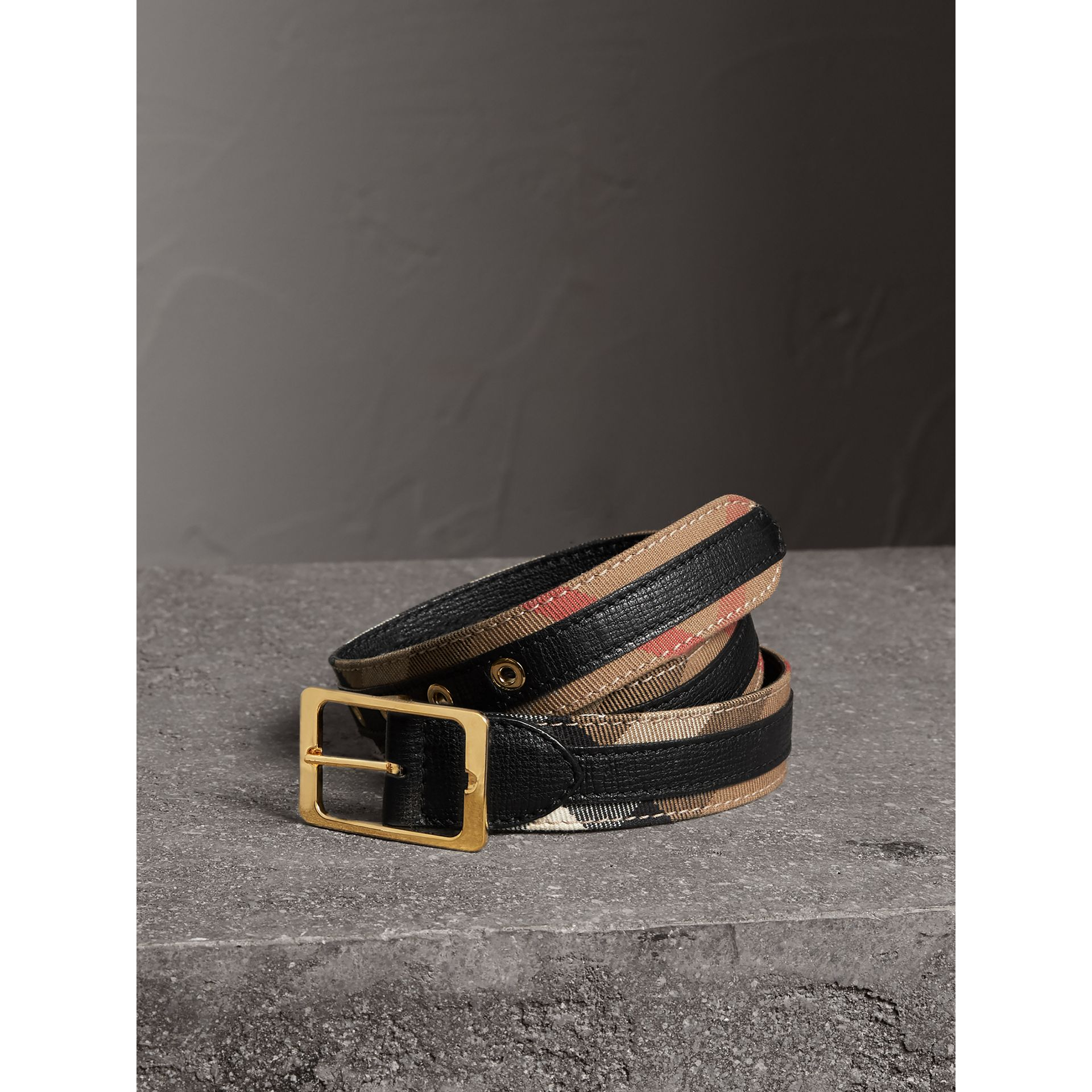 Reversible House Check and Grainy Leather Belt in Camel/black - Women | Burberry - gallery image 0