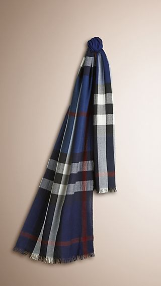 Lightweight Check Wool Cashmere Scarf