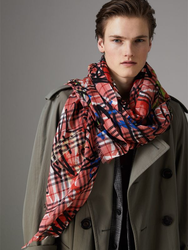 Graffiti Print Vintage Check Wool Silk Scarf in Blossom Pink | Burberry - cell image 3