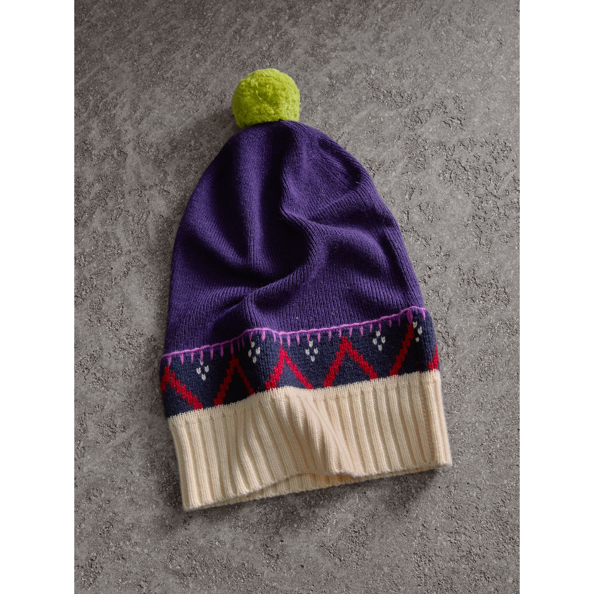 Pom-pom Cashmere Wool Beanie in Purple Grape | Burberry - gallery image 3