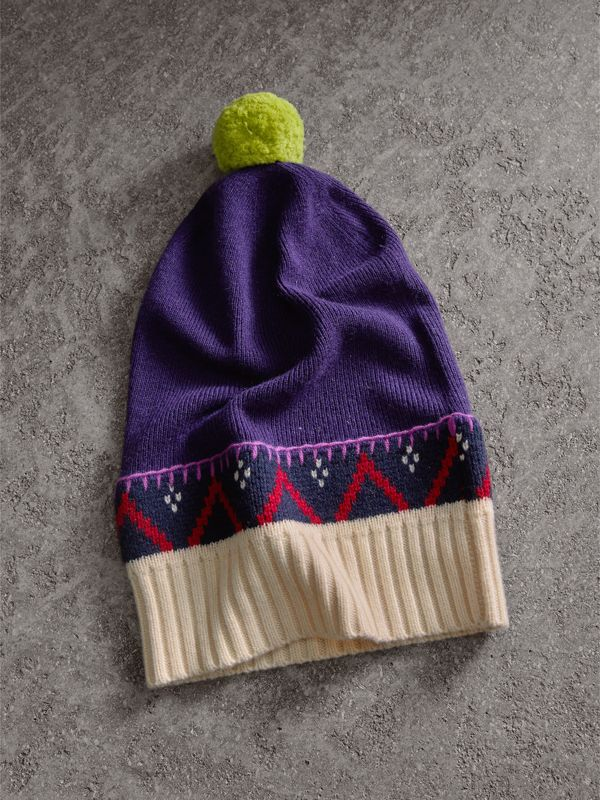 Pom-pom Cashmere Wool Beanie in Purple Grape - Women | Burberry - cell image 2