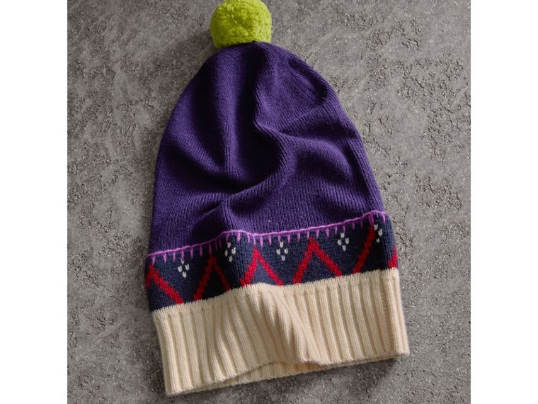 Pom-pom Cashmere Wool Beanie in Purple Grape | Burberry - cell image 2