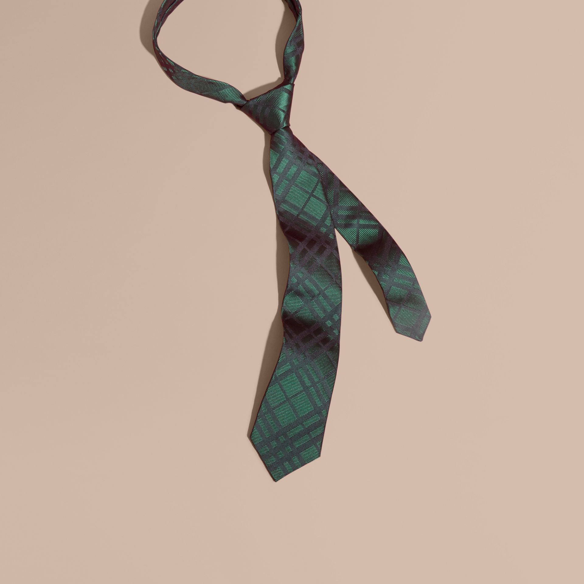 Modern Cut Check Jacquard Silk Tie Dark Forest Green - gallery image 1