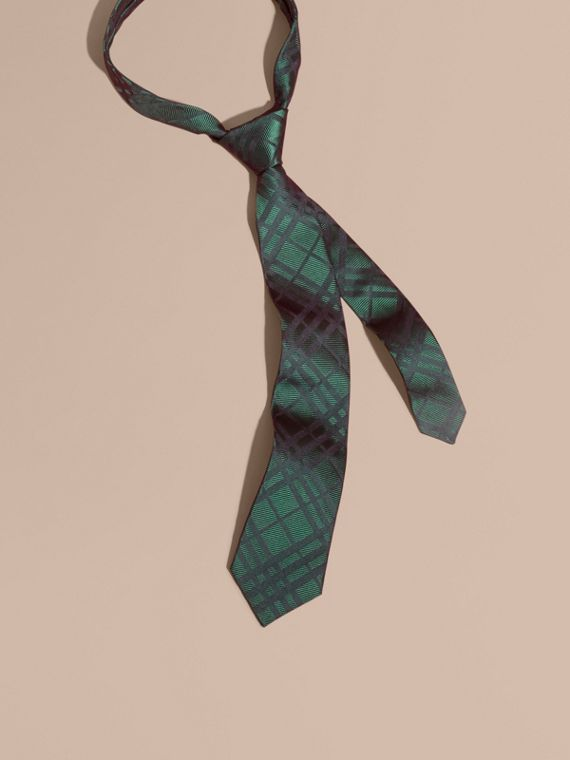 Modern Cut Check Jacquard Silk TIe Dark Forest Green