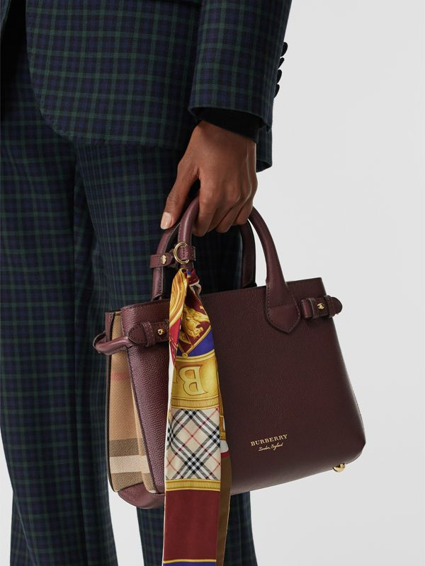 Petit sac The Banner en cuir et coton House check (Rouge Acajou) - Femme | Burberry - cell image 3