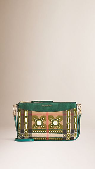 Mirror Embroidered House Check Clutch Bag