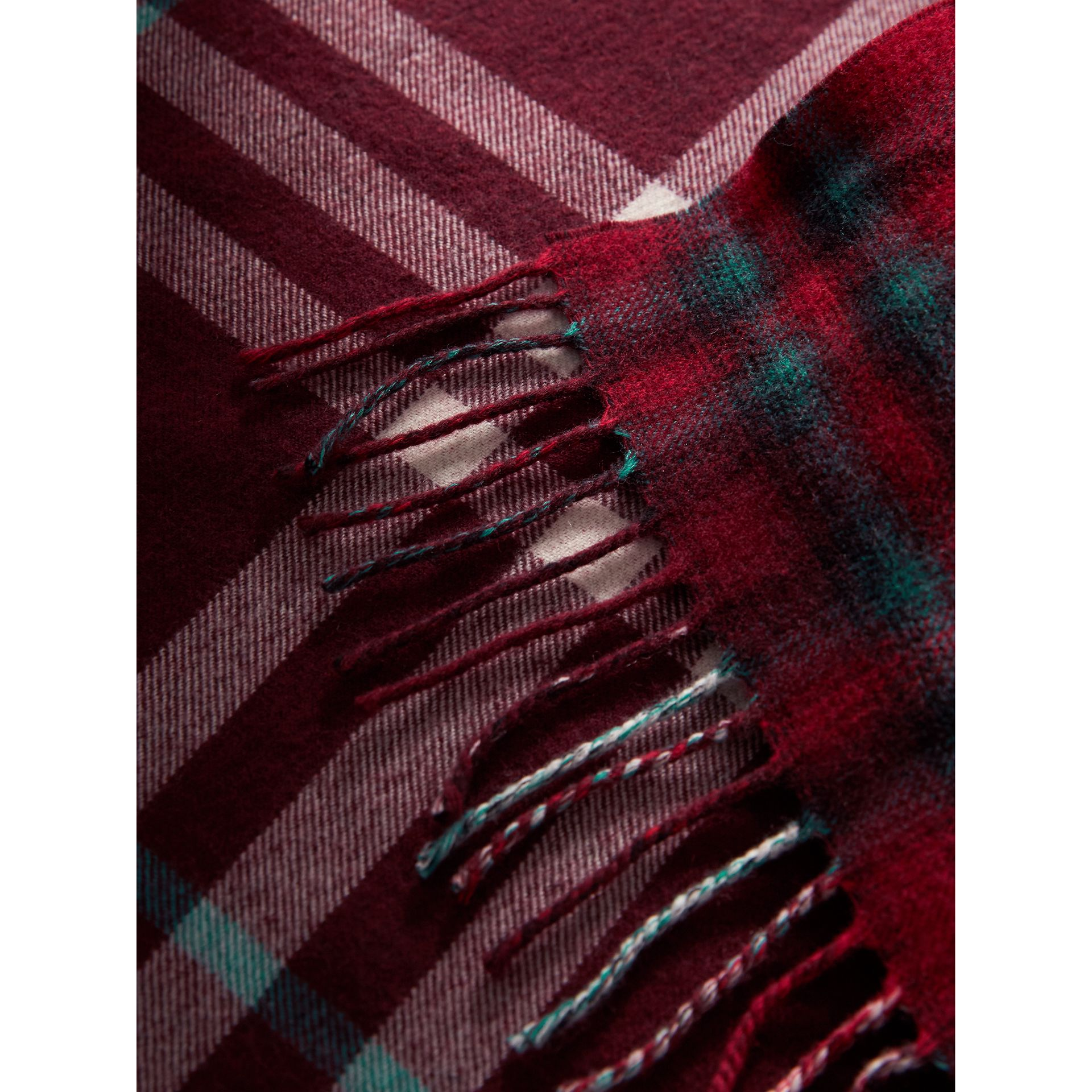 Check Merino Wool Scarf in Claret | Burberry United Kingdom - gallery image 1