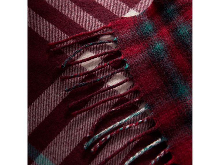 Check Merino Wool Scarf in Claret | Burberry United Kingdom - cell image 1
