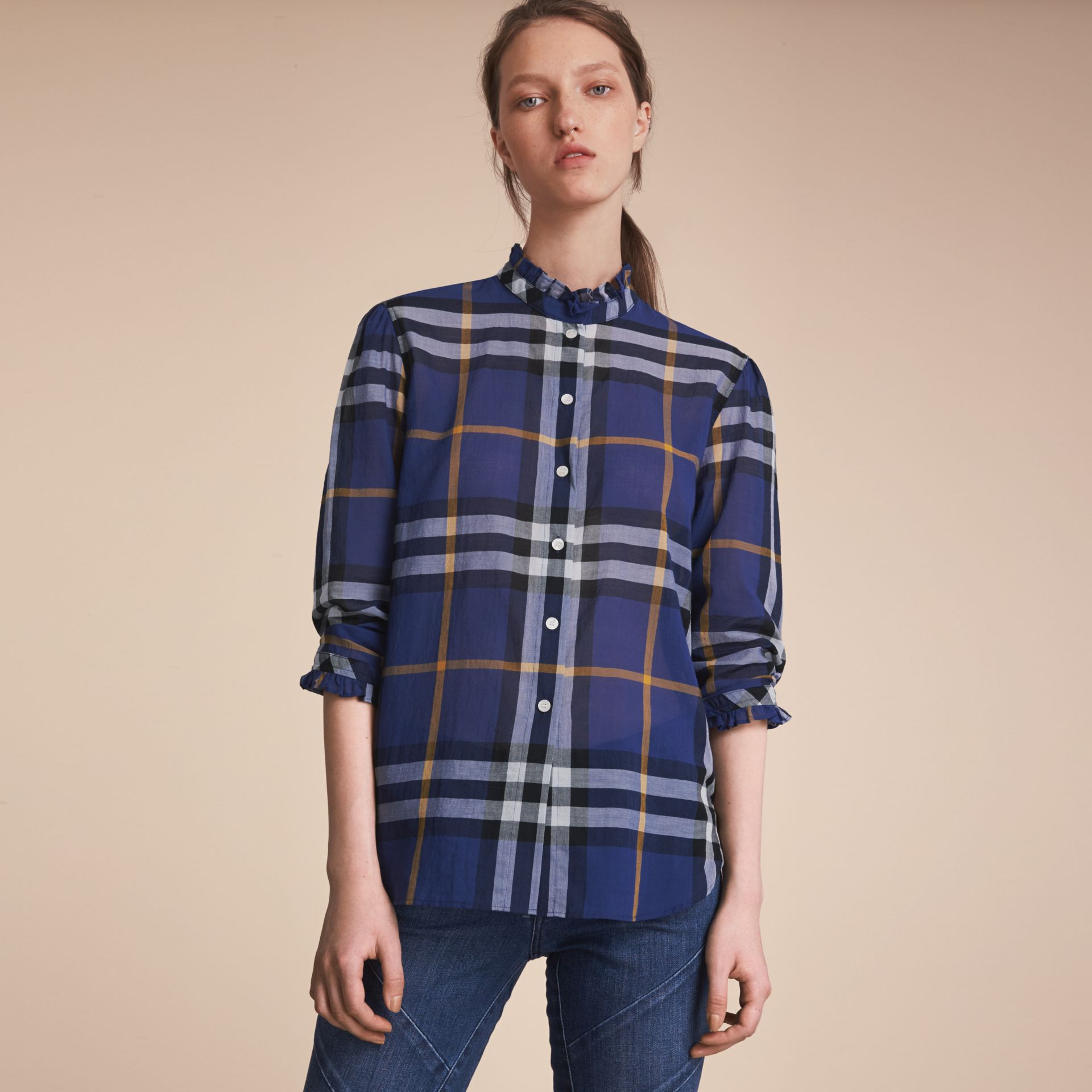 Ruffle Detail Check Cotton Shirt in Lapis Blue - Women | Burberry Australia - gallery image 6