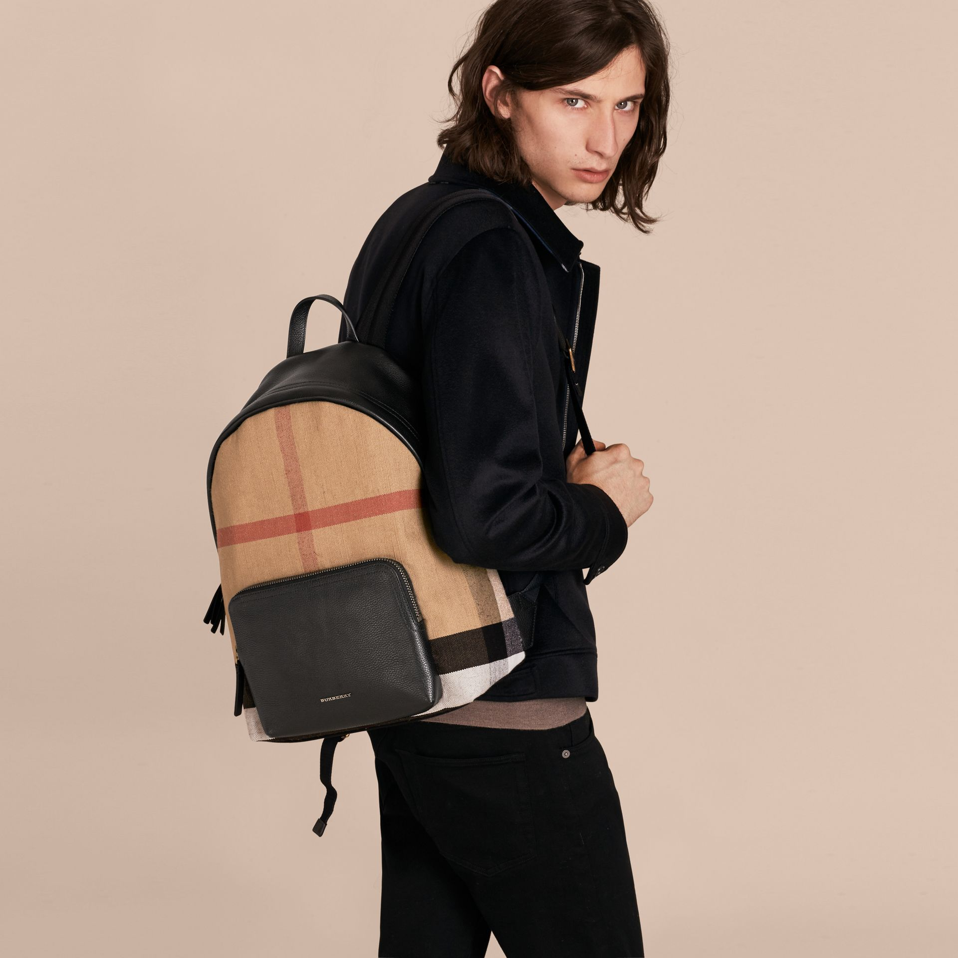 Canvas Check and Leather Backpack - Men | Burberry - gallery image 3