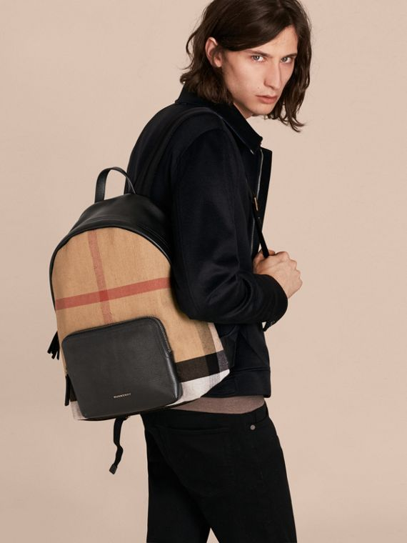 Black Canvas Check and Leather Backpack - cell image 2