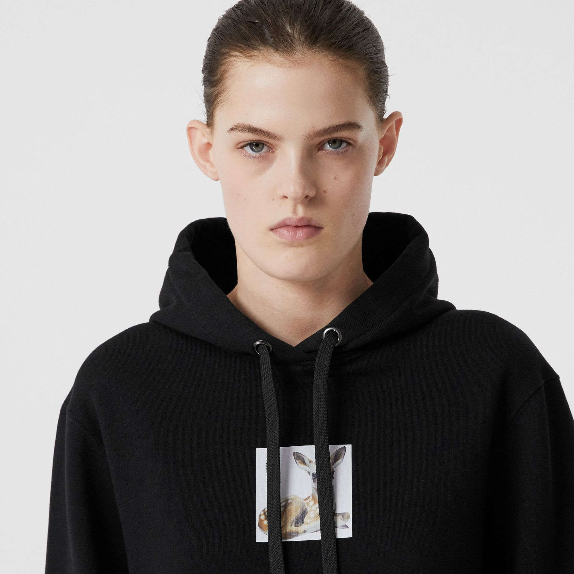 Deer Print Cotton Oversized Hoodie in Black - Women | Burberry - gallery image 4