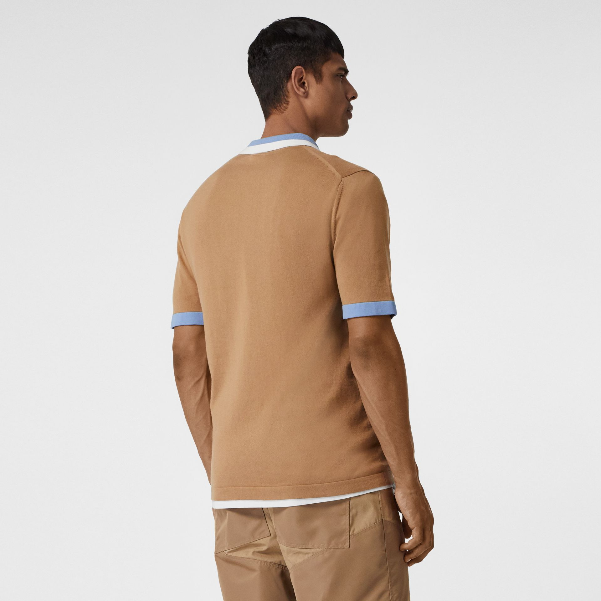 Monogram Motif Tipped Cotton Polo Shirt in Camel - Men | Burberry Singapore - gallery image 2