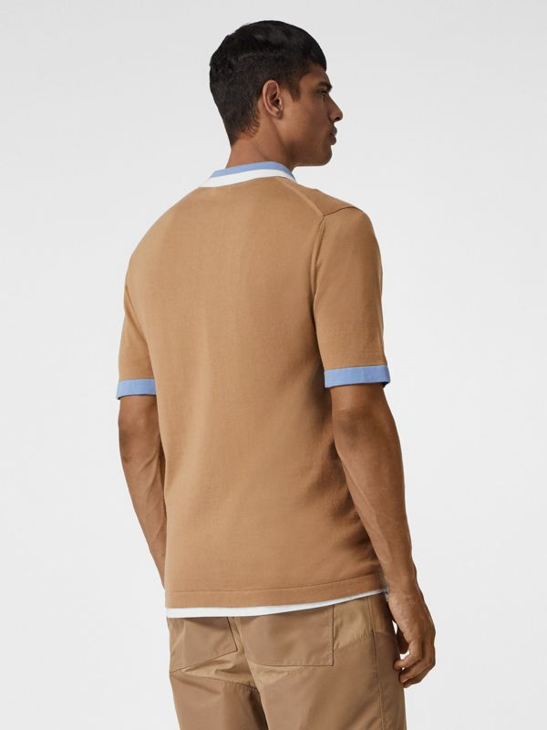 Monogram Motif Tipped Cotton Polo Shirt in Camel - Men | Burberry Singapore - cell image 2