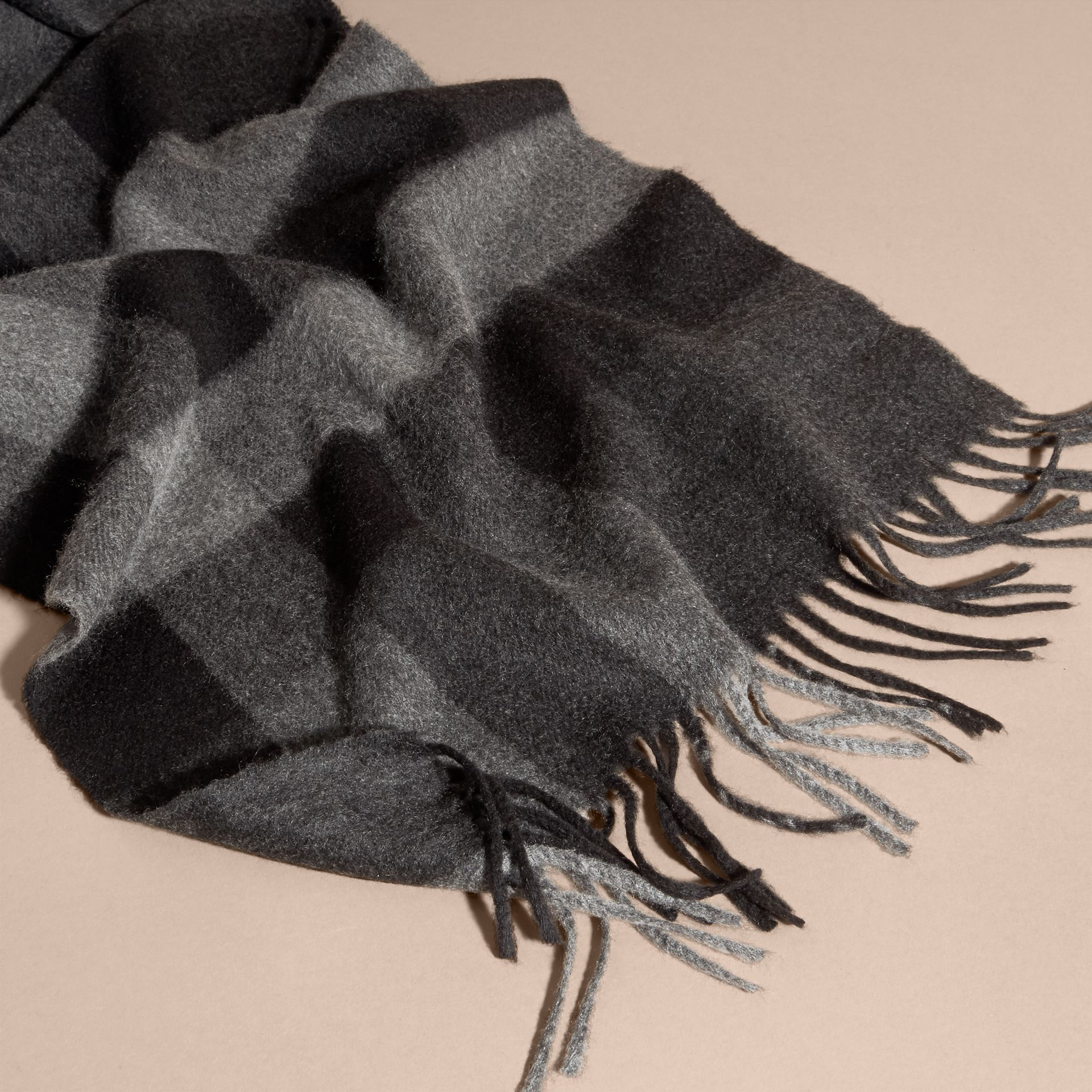 Charcoal check The Large Classic Cashmere Scarf in Check Charcoal - gallery image 5