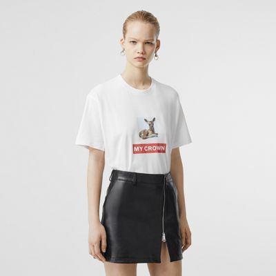 Montage Print Cotton Oversized T shirt in White Women | Burberry
