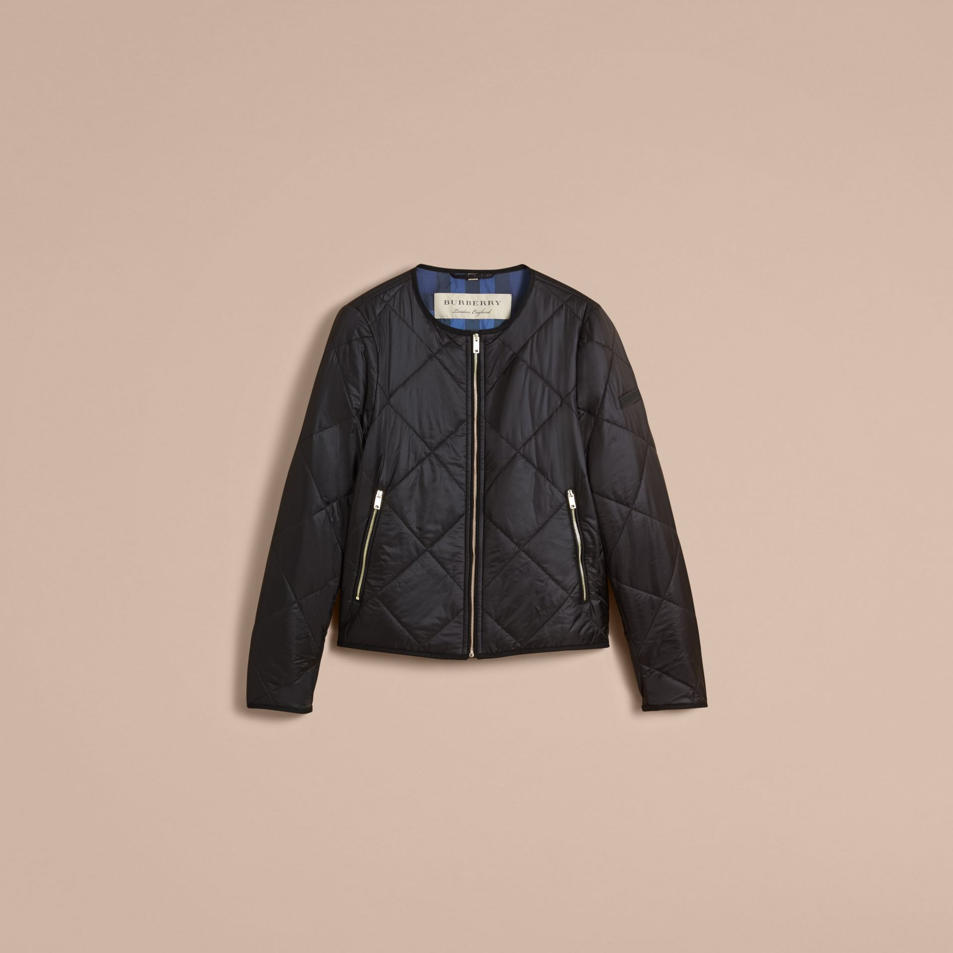 Collarless Diamond Quilted Lightweight Jacket in Black - Women | Burberry - gallery image 4
