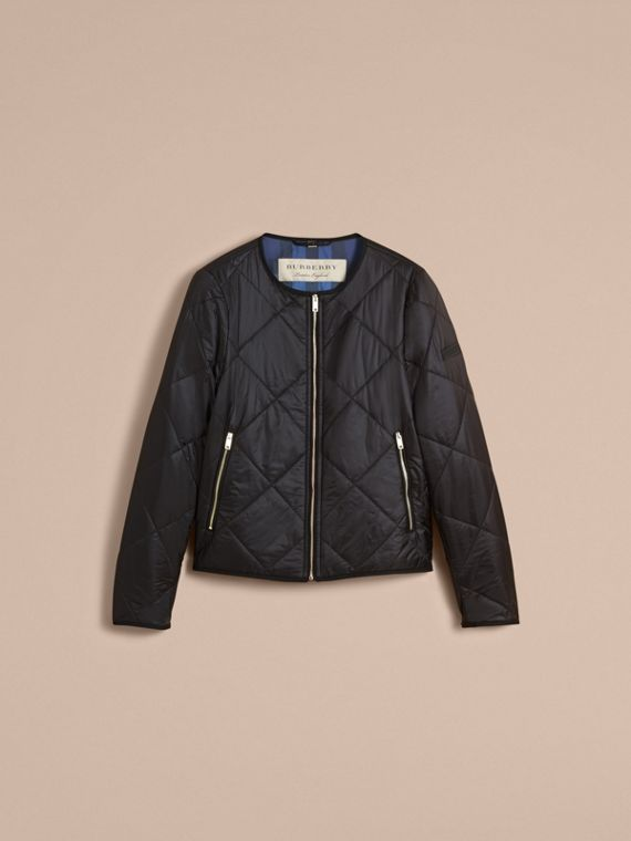 Collarless Diamond Quilted Lightweight Jacket in Black - Women | Burberry - cell image 3