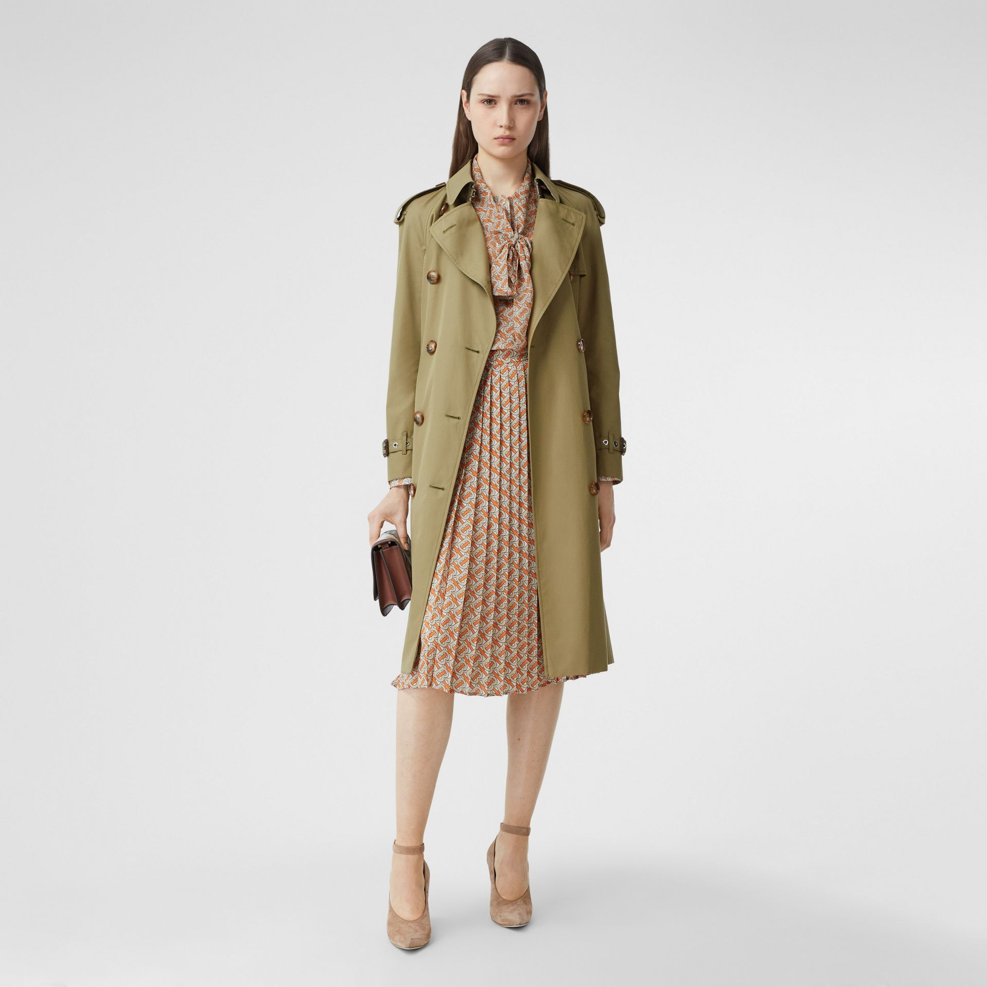 Animalia Print-lined Cotton Gabardine Trench Coat in Rich Olive - Women | Burberry Canada - gallery image 7