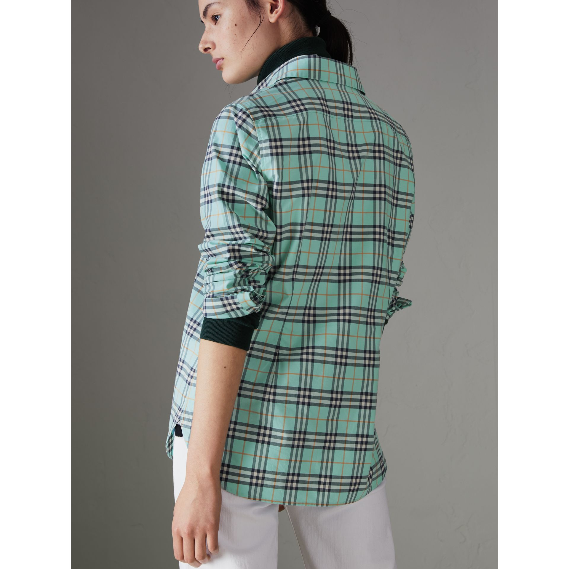 Check Cotton Shirt in Bright Aqua - Women | Burberry United States - gallery image 2