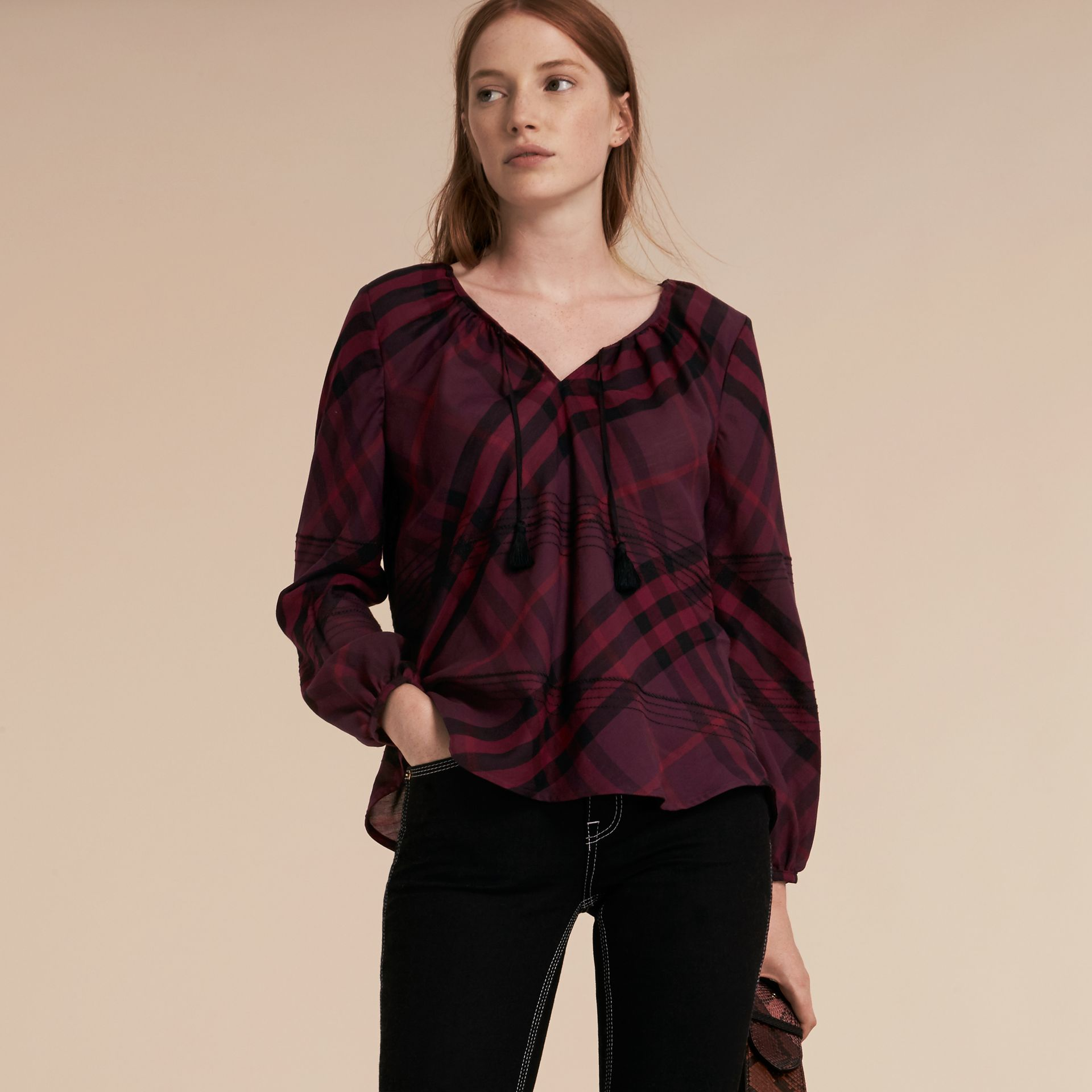 Blackcurrant Topstitched Check Cotton Tunic Top Blackcurrant - gallery image 6