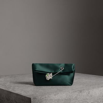 The Small Pin Clutch In Satin in Green