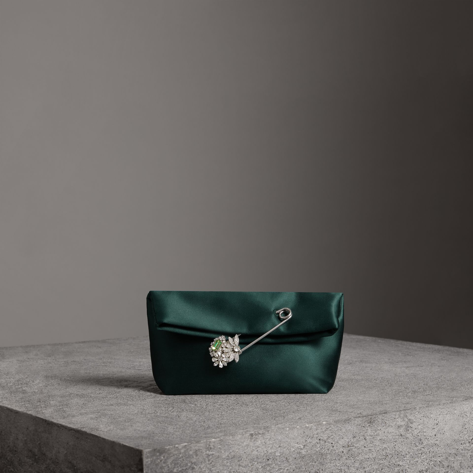 The Small Pin Clutch in Satin in Dark Forest Green - Women | Burberry - gallery image 0