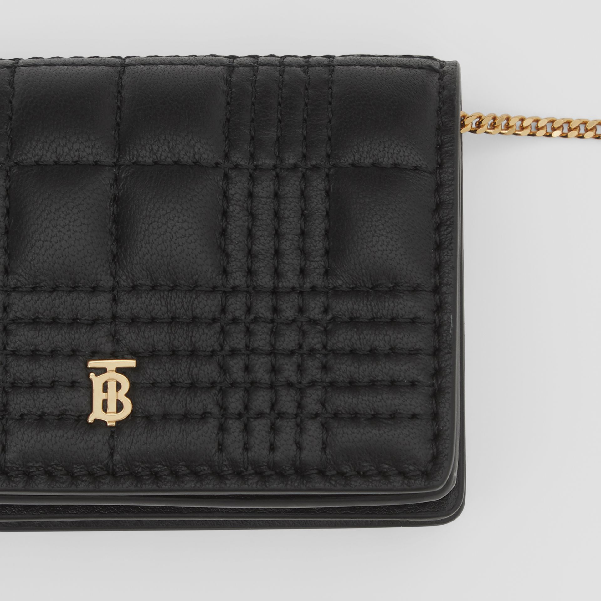 Quilted Lambskin Card Case with Detachable Strap in Black | Burberry United Kingdom - gallery image 1