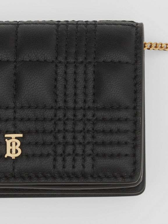 Quilted Lambskin Card Case with Detachable Strap in Black | Burberry United Kingdom - cell image 1